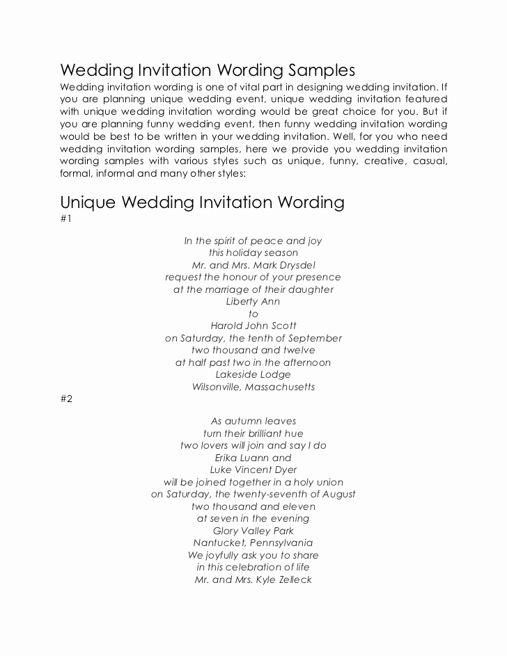Sample Of Weeding Invitation Inspirational Wedding Invitation Wording Samples