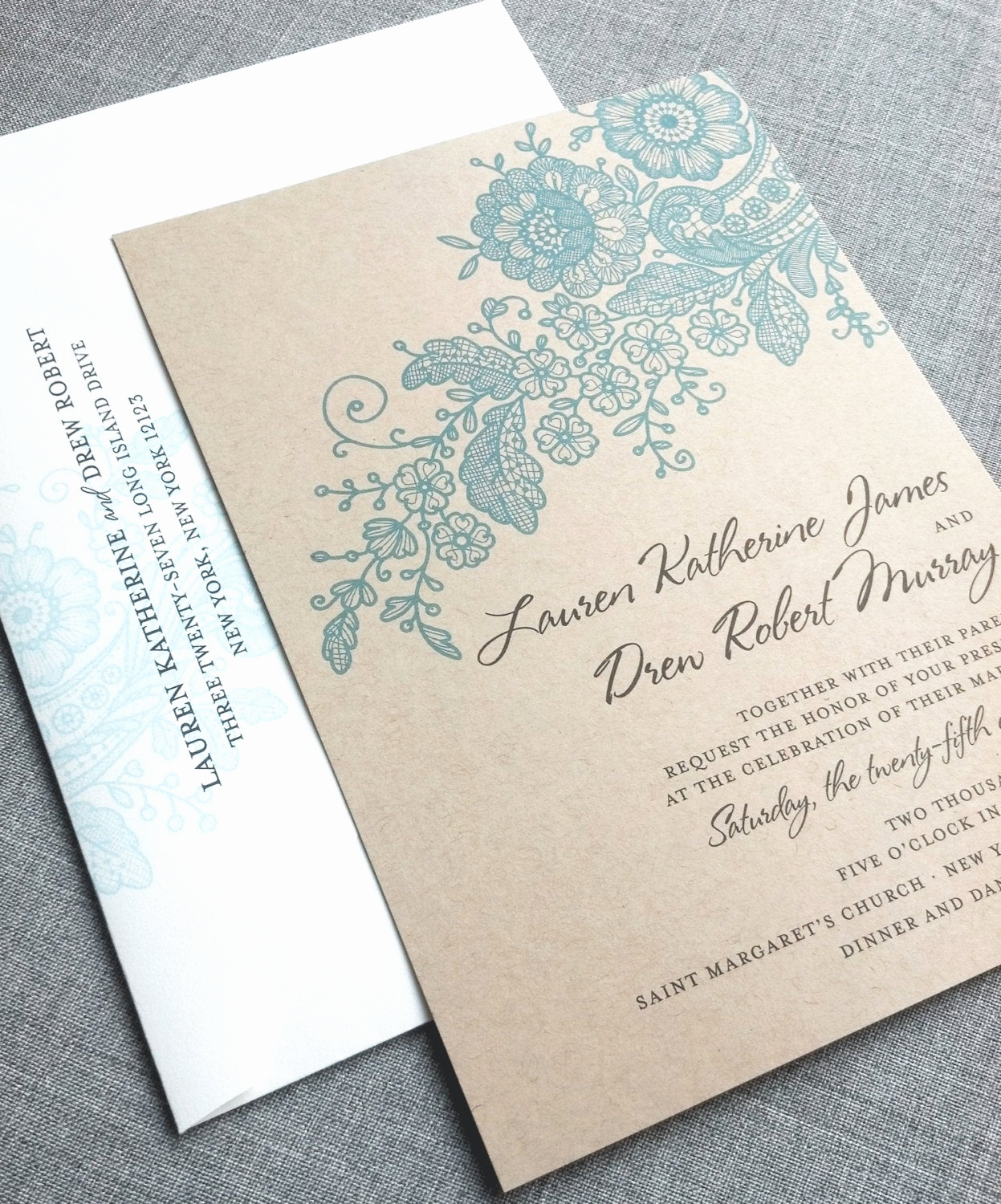 Sample Of Weeding Invitation Unique Lauren Kraft Lace Wedding Invitation Sample Recycled Rustic