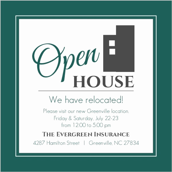 Sample Open House Invitation Elegant Modern Everygreen Business Open House Invitation