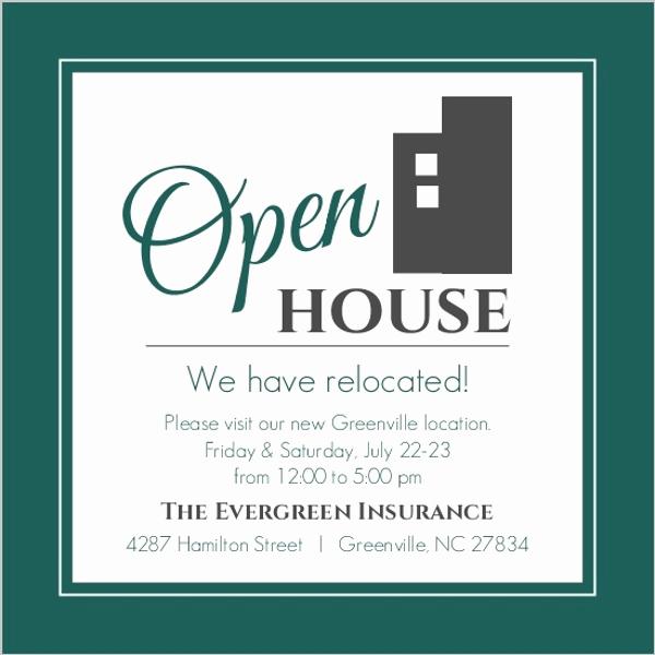 Sample Open House Invitation Elegant Modern Everygreen Business Open House Invitation