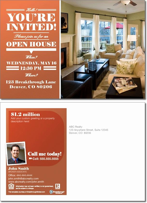Sample Open House Invitation Inspirational Realestate Open House Invitation Postcard