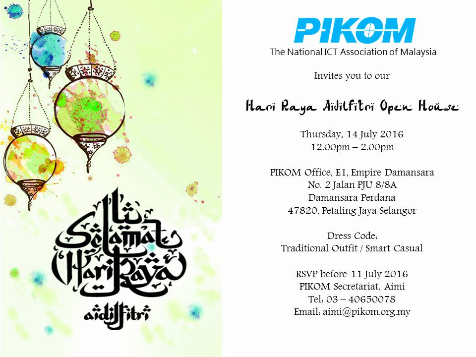 Sample Open House Invitation Lovely Pikom Hari Raya Open House Invitation Pikom