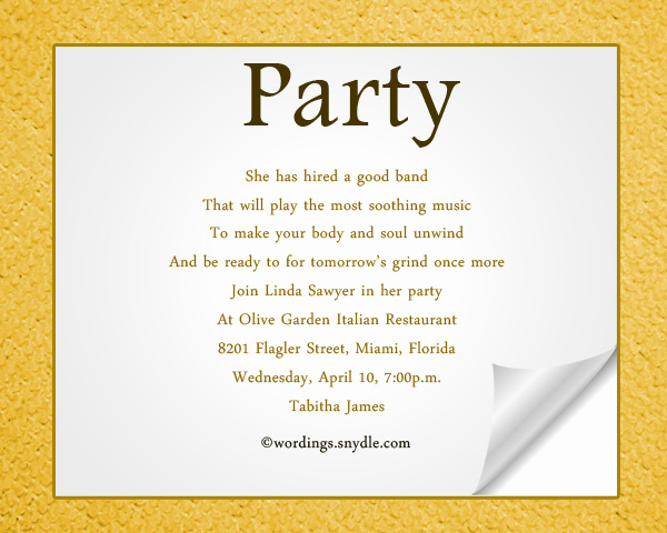Sample Party Invitation Wording Beautiful Y Email Invitations S and Other Amusements
