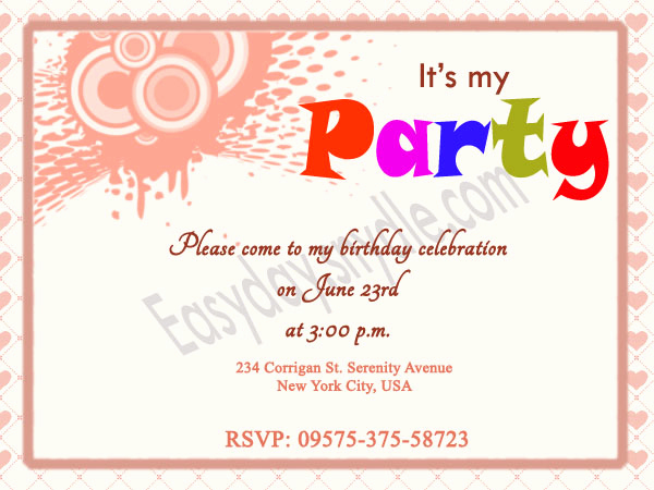 Sample Party Invitation Wording Elegant Birthday Invitation Wording Easyday