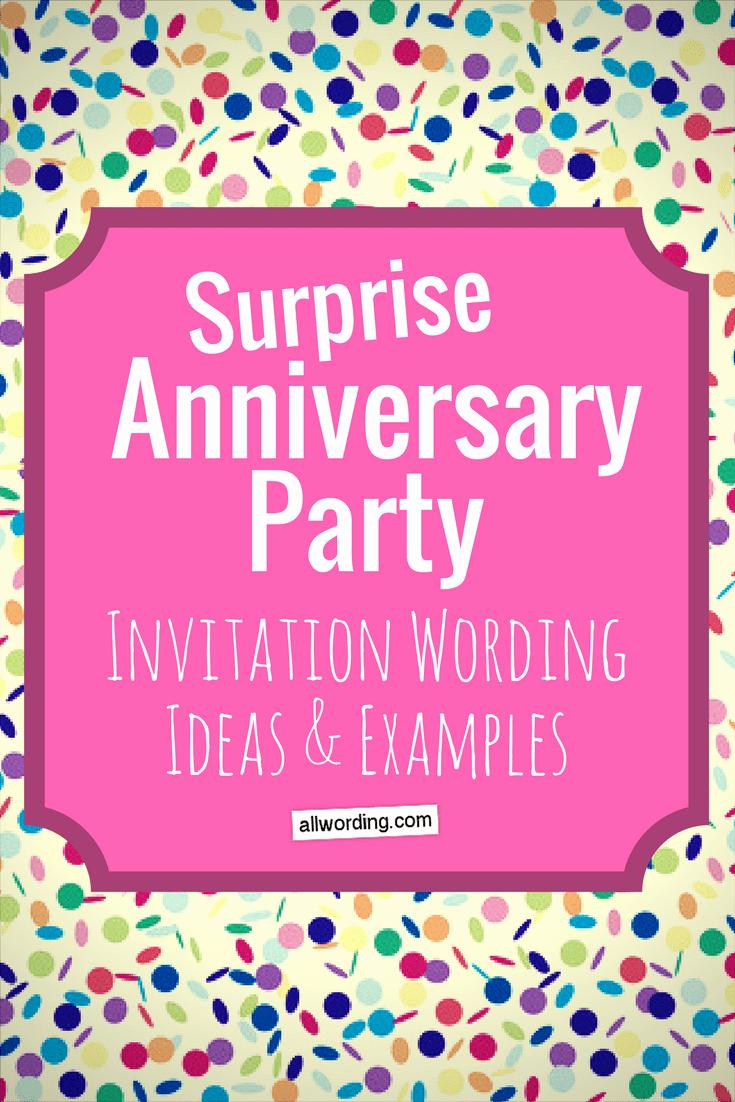 Sample Party Invitation Wording Fresh Surprise Anniversary Party Invitation Wording Allwording