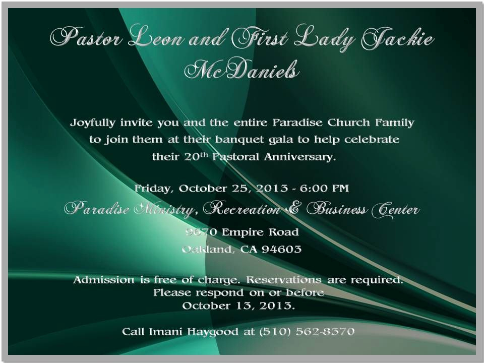Sample Pastor Anniversary Invitation Letter Awesome 20th Pastoral Anniversary Invite