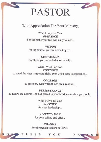 Sample Pastor Anniversary Invitation Letter Fresh for Pastor Appreciation Poems or