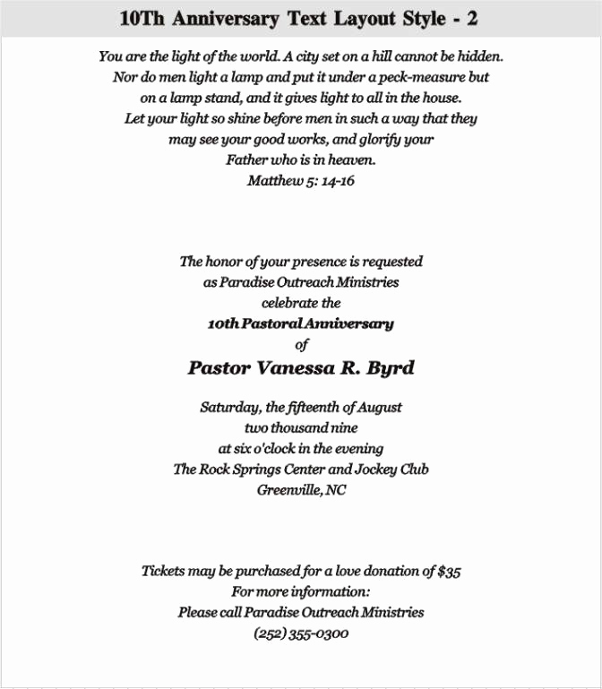 Sample Pastor Anniversary Invitation Letter Luxury Anniversary Invitation Wording