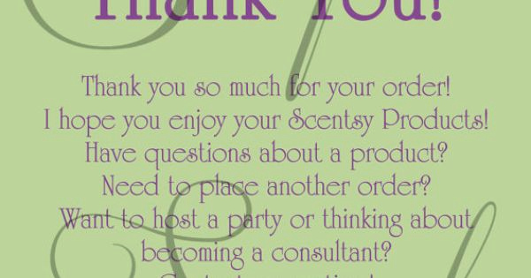 Scentsy Party Invitation Template Awesome Scentsy Consultant Thank You Customer Card Custom