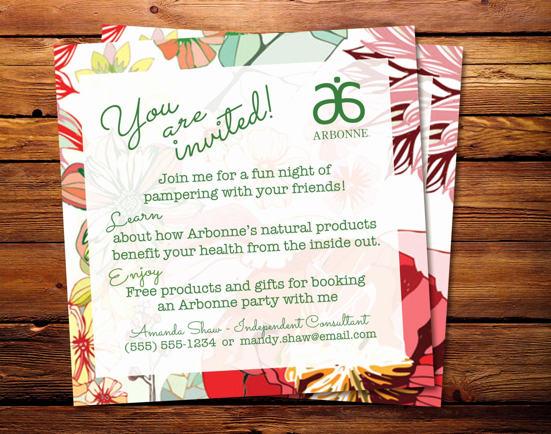 arbonne party handout or invitation