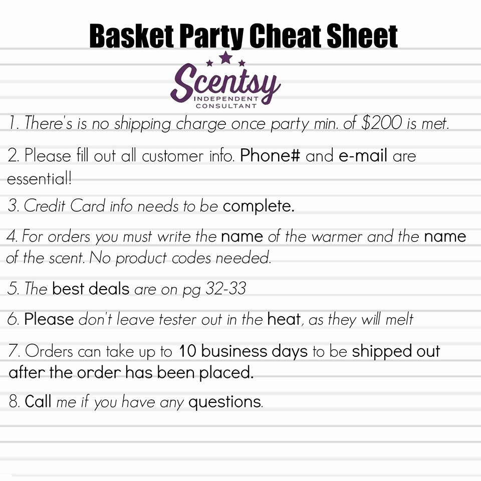 Scentsy Party Invitation Template New Scentsy Basket Party Hostess Cheat Sheet