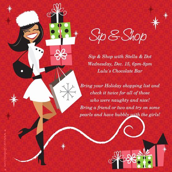 Scentsy Party Invitation Template Unique Sip & Shop Sip & Shop with Stella & Dot Holiday Invite