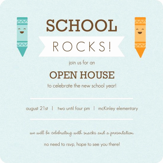 School Open House Invitation Elegant Kindergarten Roundup