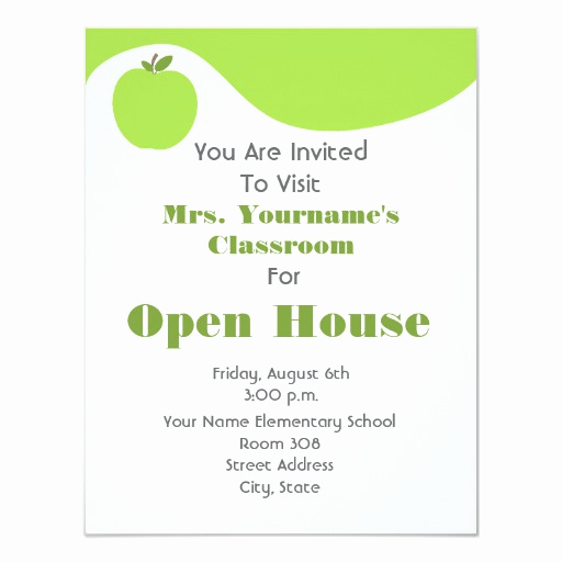 School Open House Invitation New Classroom School Open House Green Apple Personalized