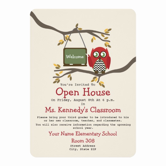 School Open House Invitation New Owl Back to School Classroom Open House Invite