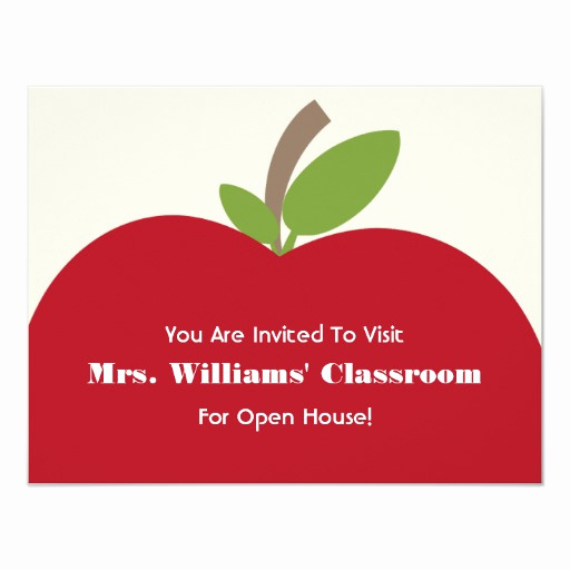 School Open House Invitation New School Open House Invitation Red Apple