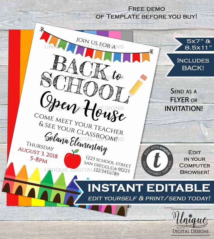 School Open House Invitation Template Awesome Back to School Open House Invitation Meet Your Teacher Pta