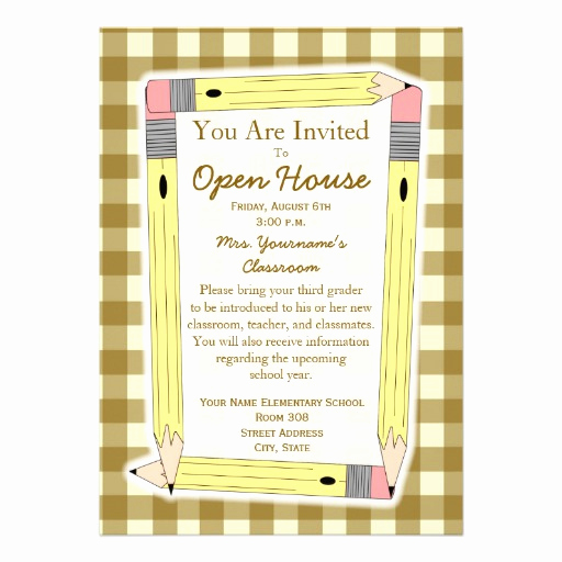 "School Open House Invitation Template Elegant Back to School Open House Invitation 5"" X 7"" Invitation"