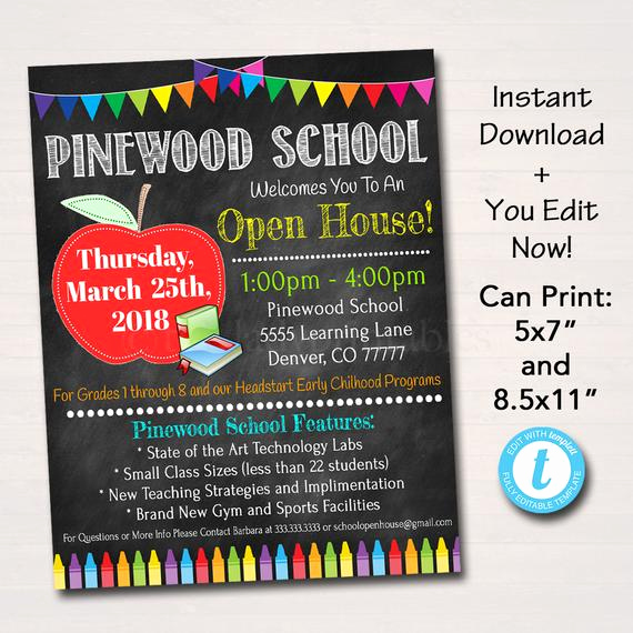 School Open House Invitation Template Inspirational Editable School Open House Flyer Printable Pta Pto Flyer