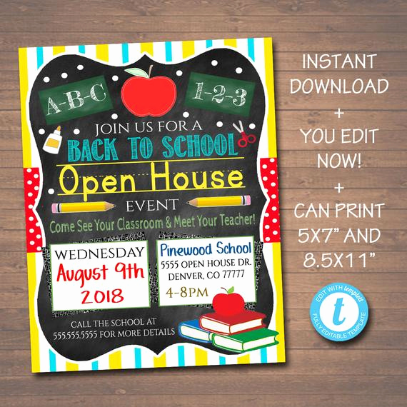 School Open House Invitation Template Lovely Editable School Open House Flyer Printable Pta Pto Flyer