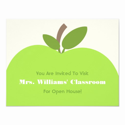 School Open House Invitation Unique School Open House Invitation Green Apple