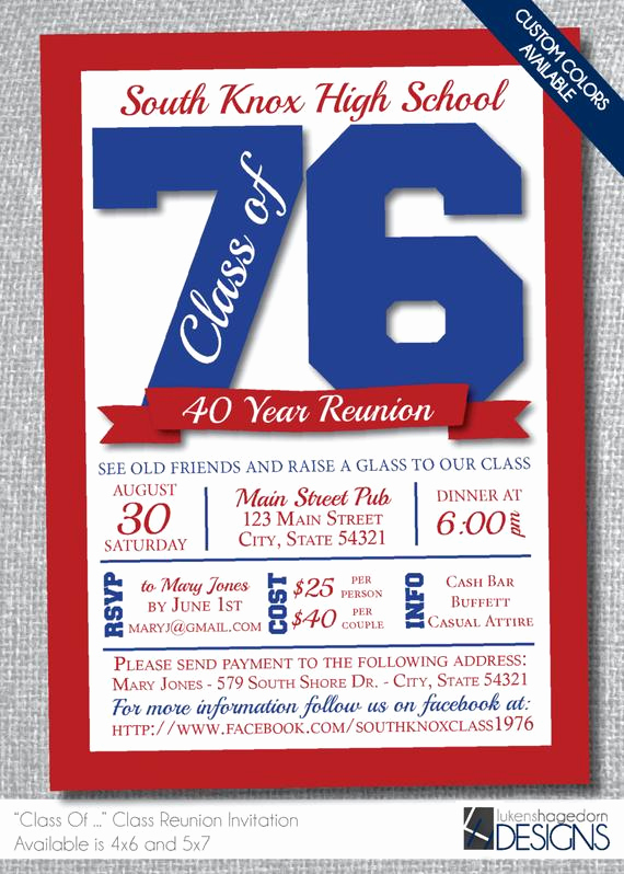 School Reunion Invitation Templates Free Best Of Class Reunion Invitation Custom School by Lukenshagedorndesign