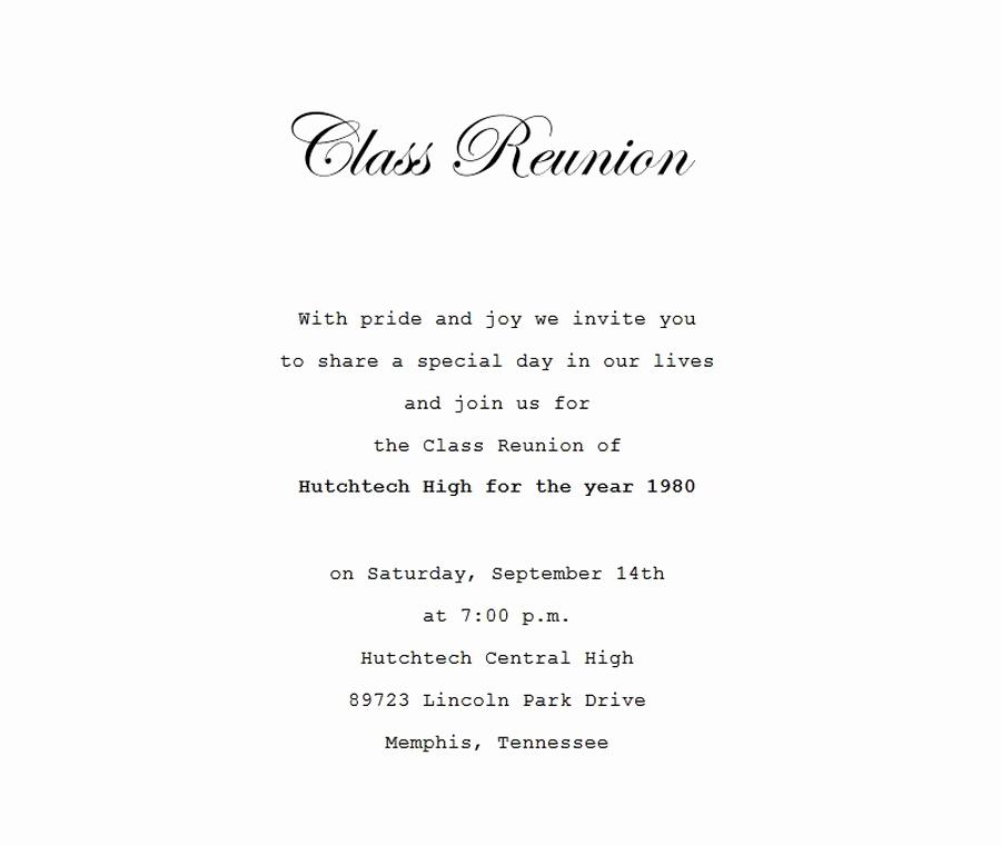School Reunion Invitation Templates Free Elegant Class Reunion Invitation 4 Wording
