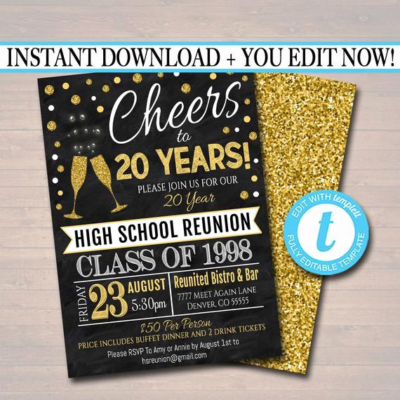 School Reunion Invitation Templates Free Unique Editable Class Reunion Invitation Template Any Year