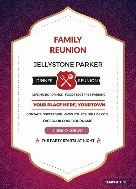 School Reunion Invitation Templates Free Unique Free Family Dinner Reunion Invitation Template Download