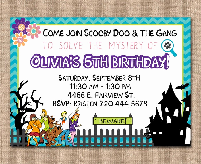 Scooby Doo Invitation Template Elegant Scooby Doo Birthday Invitation Girl Birthday by