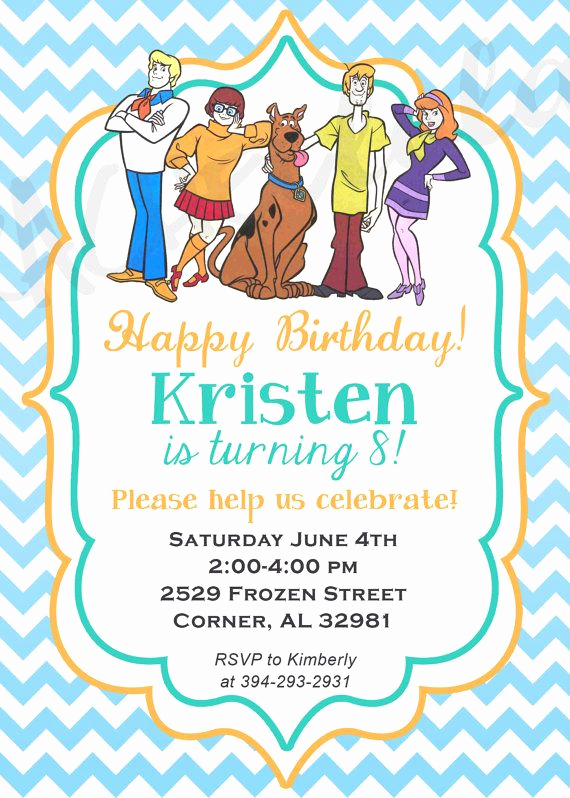 Scooby Doo Invitation Template Fresh Scooby Doo Birthday Party Invitation Printable Diy by