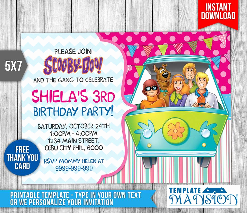 Scooby Doo Invitation Template Luxury Scooby Doo Birthday Invitation Invite Psd by