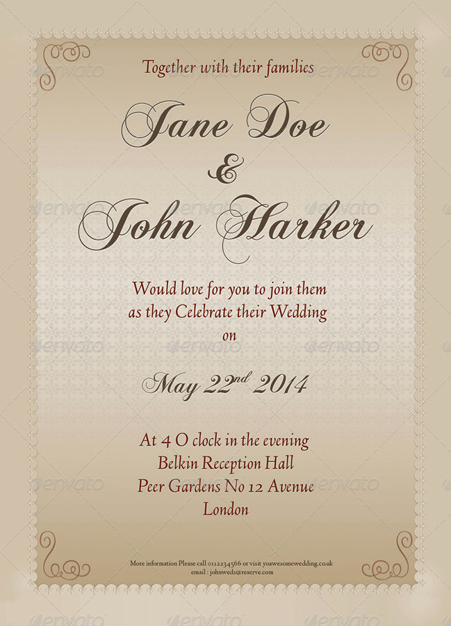Second Marriage Invitation Wording Elegant Wedding Invitation Card Template by Design7