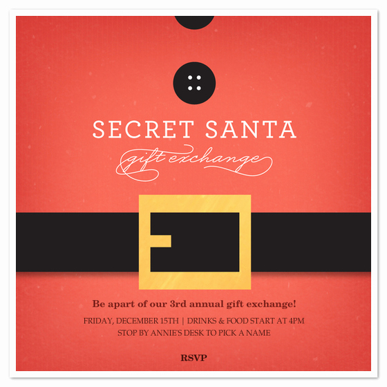 Secret Santa Invitation Template Beautiful Secret Santa Belt Invitations & Cards On Pingg