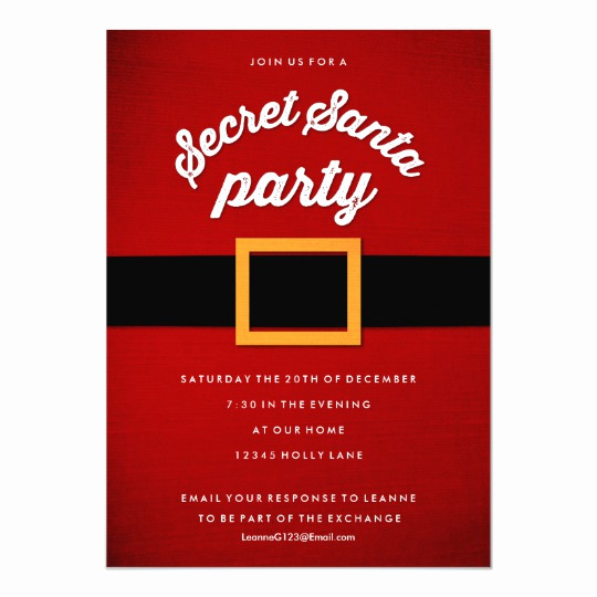 Secret Santa Invitation Template Best Of Secret Santa Christmas Party Invitations
