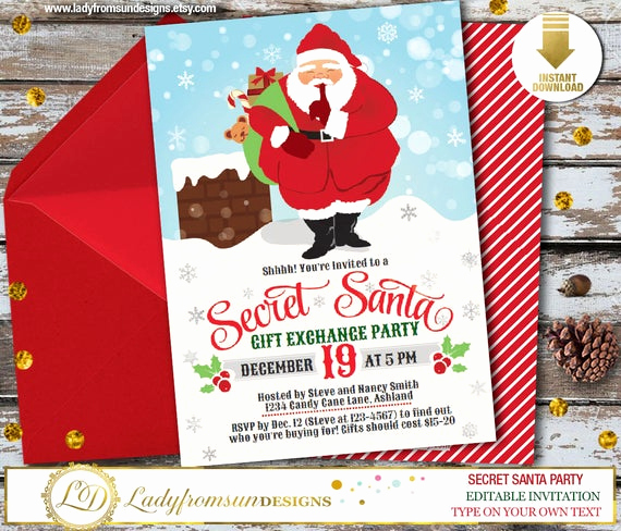 Secret Santa Invitation Template Best Of Secret Santa Invitation Christmas Invitation Santa