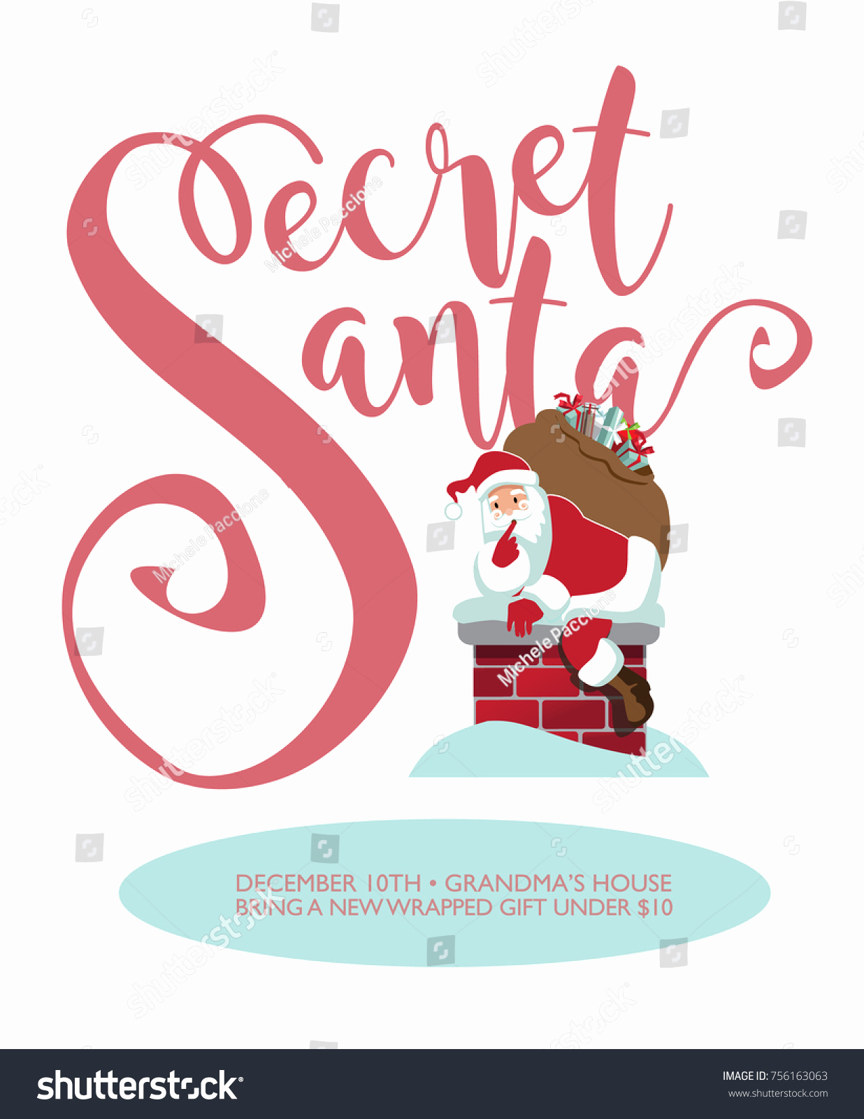 Secret Santa Invitation Template Best Of Secret Santa Party Invitation Template Cartoon Stock