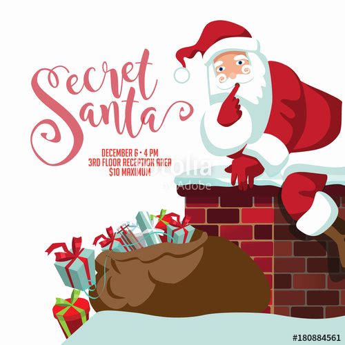 "Secret Santa Invitation Template Elegant ""secret Santa Party Invitation Template Cartoon Santa"