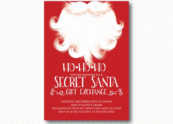 Secret Santa Invitation Template Luxury Secret Santa Invitation Holiday Party Gift Exchange