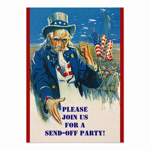 Send Off Party Invitation Awesome Vntg Uncle Sam Military Send F Party Invitations