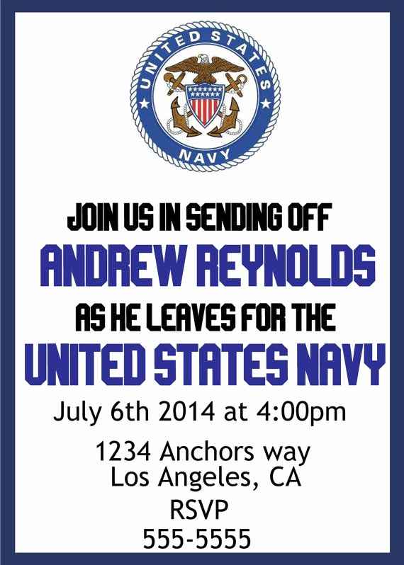 Send Off Party Invitation Fresh U S Navy Send Off Party Invite Bud Friendly Diy