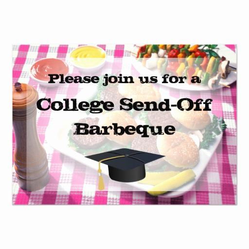 Send Off Party Invitation Lovely College Send Off Party Bbq Burgers Pink Tablecloth
