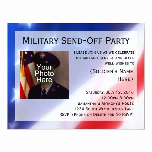 Send Off Party Invitation Lovely Dog Tags and American Flag Military Retirement 5×7 Paper