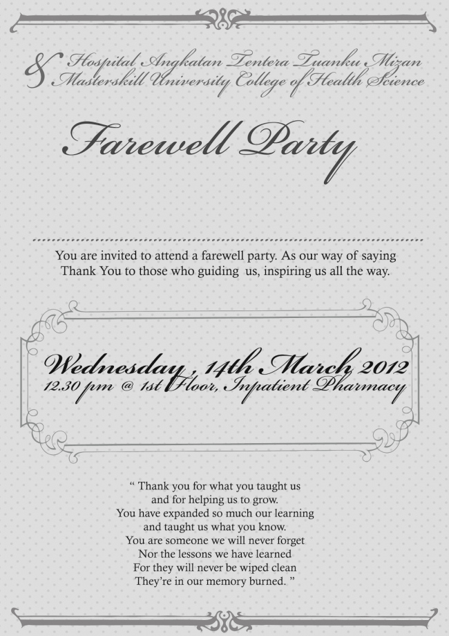 Send Off Party Invitation Lovely Send F Invitation Wording