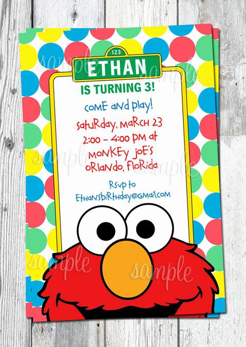 Sesame Street Birthday Invitation Templates Beautiful Elmo Birthday Invitation Printable Sesame by Partyprintouts
