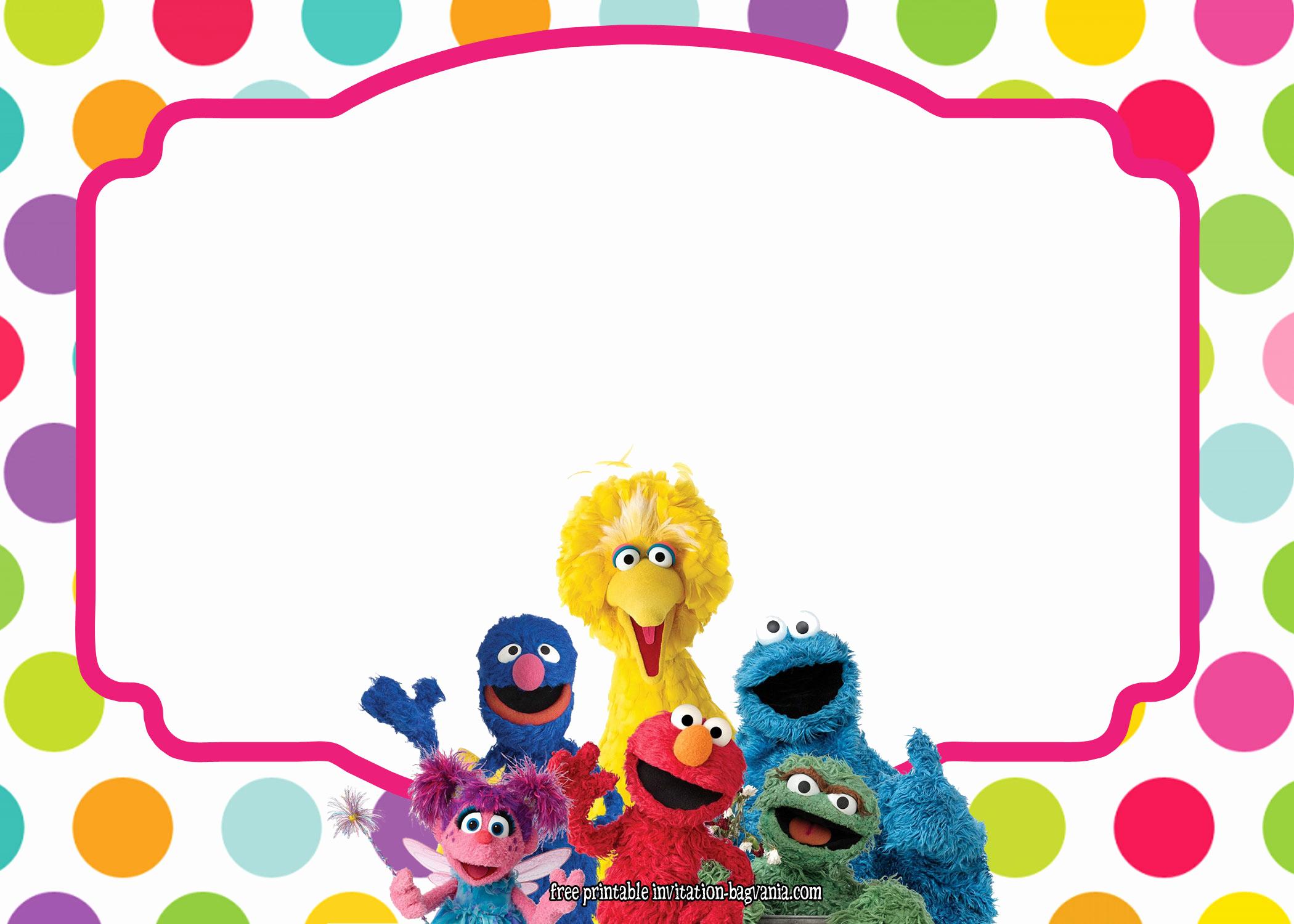 Sesame Street Birthday Invitation Templates Beautiful Sesame Street All Characters Invitation Template – Free