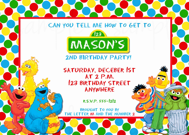 Sesame Street Birthday Invitation Templates Fresh Sesame Street Birthday Invitation Sesame Street Invitation