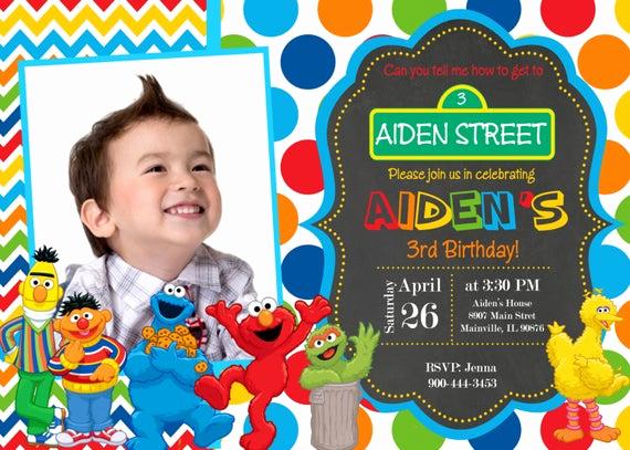 Sesame Street Birthday Invitation Templates Fresh Sesame Street Birthday Party Invitation by Prettypaper
