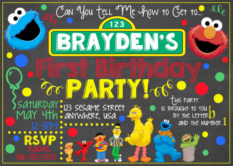 Sesame Street Birthday Invitation Templates Fresh Sesame Street Chalkboard Invitation Sesame by Letsgetchalky
