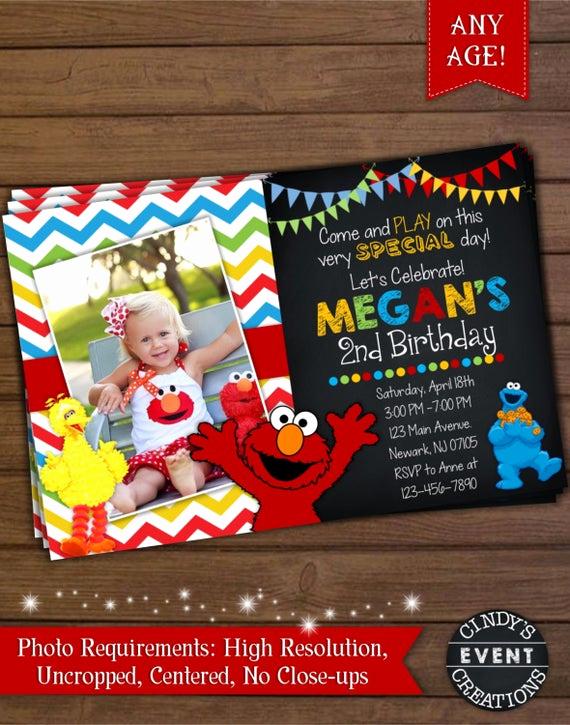 Sesame Street Birthday Invitation Templates Luxury Sesame Street Invitation Elmo Invitation by